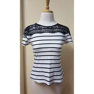 Lace Top Stripe Shirt