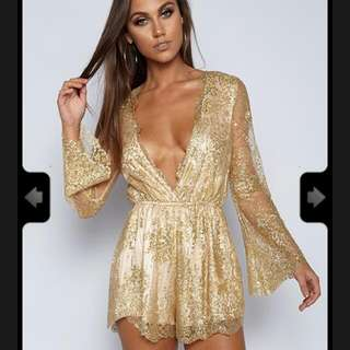 Life Key Playsuit - Gold Sequin