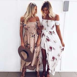 Brand New 8 10 12 Boho Maxi Dress Off Shoulder Floral White