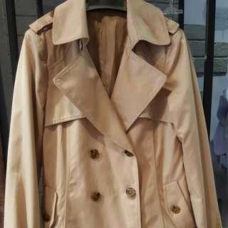 正韓卡其色挺布大衣外套