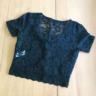 Topshop Black Lace Cropped Top