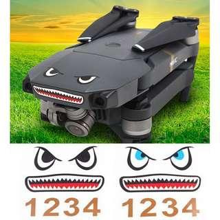 2pcs Waterproof 3M Shark Face Sticker Decal Skin Battery Label for DJI Mavic Pro / Spark Drone