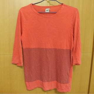 ASOS 七分袖 T恤 條紋 朱紅色 修身 緊身 低價可議