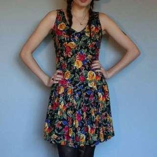 80's 1990's vintage floral drop waist dress