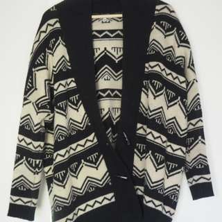 Black And cream Knit Style Cardigan Winter Jacket