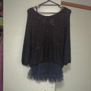 Two Piece Sparkly Navy Jumper