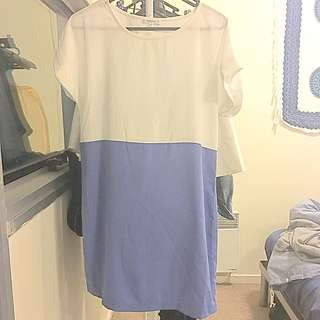 Shift Dress In White And Blue