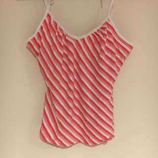 Pink And White Striped Cute Top Singlet