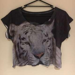 Tiger T Shirt Crop Top