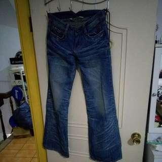🚚 美式風格刷色牛仔大寬褲M號