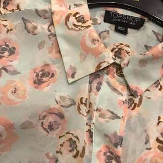 Topshop Pale Mint Green Pink Roses Pastel Chiffon Blouse UK 8