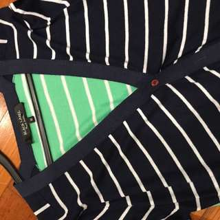 Paul Smith Black Label M Navy Green Striped Cardigan