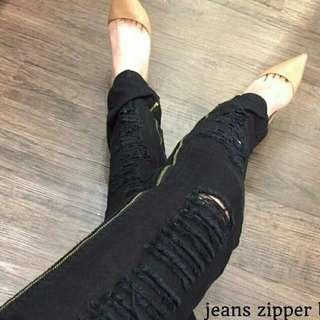 Zipper Ripped Jeans Black