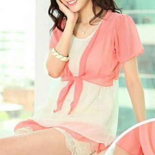 Sweet Ruffle Chiffon Blouse (Pink)