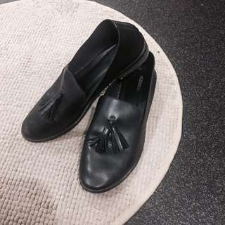 Black Faux Leather Loafers With Tassels