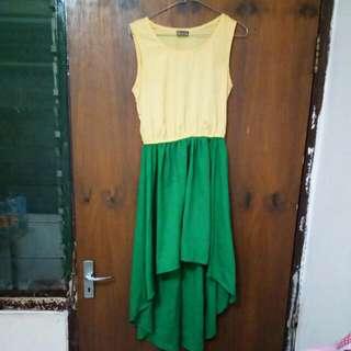 Dress Pesta Kuning Hijau