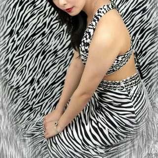 Long Dress Motif Zebra  size S