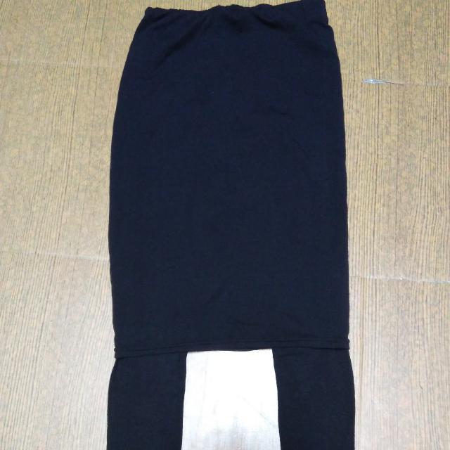 台灣製假兩件黑褲