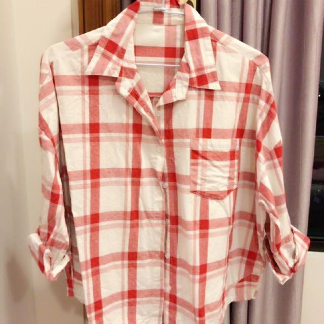 紅線條格子襯衫襯衫