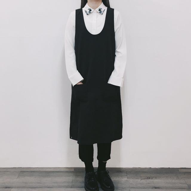 深咖啡吊帶口袋棉麻洋裝