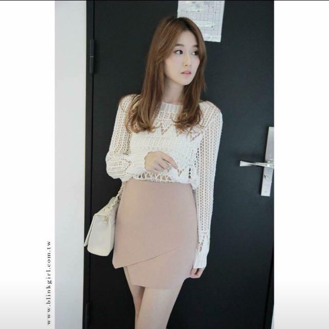 全新*粉紅麂皮信封裙