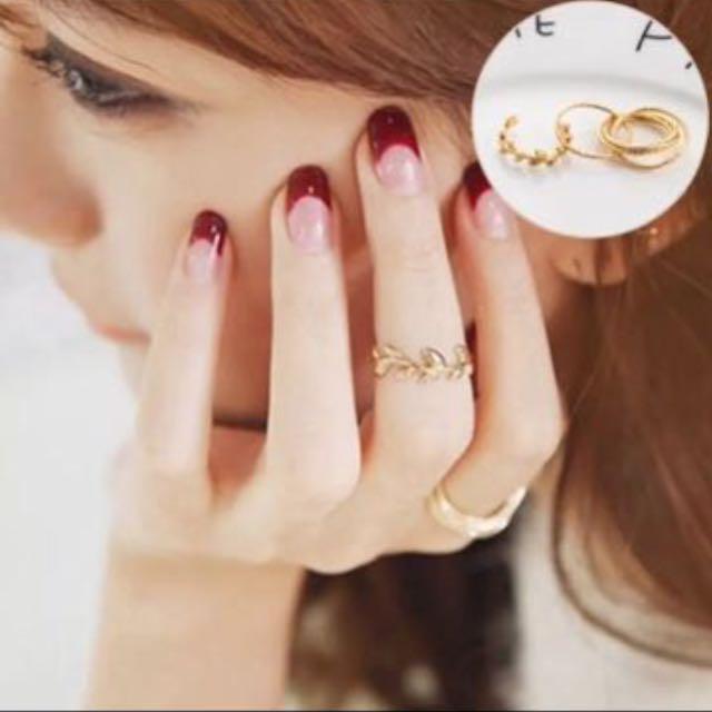 (特價!)(全新)金色葉子 戒指 套組 食指戒/無名指戒