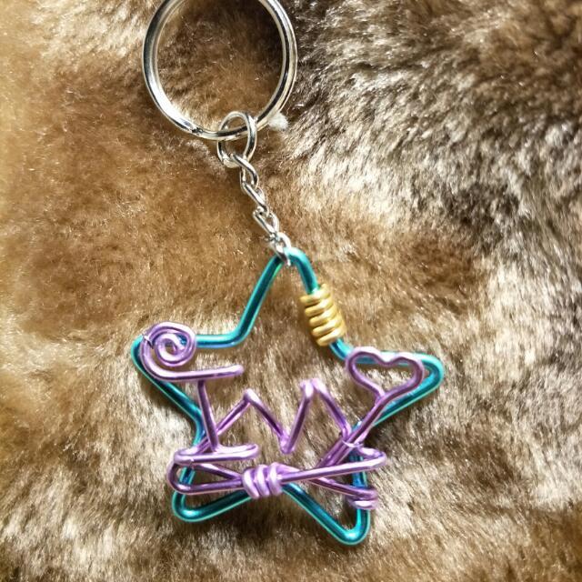 星星+英文,鑰匙圈