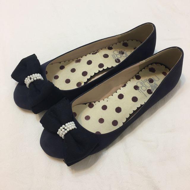 全新👉🏻 珍珠蝴蝶結麂皮娃娃鞋 深藍 41號 適合40號