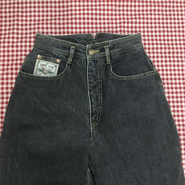 古著 復古 高腰 水洗 牛仔褲