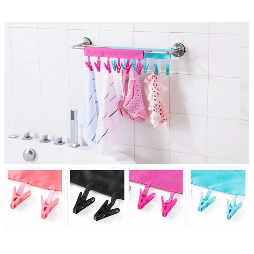 攜帶式布藝衣架 可折疊 旅行出差旅遊晾衣服夾子 浴室掛架 創意曬衣夾#Y162