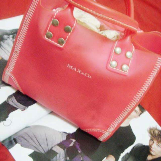 二手 MAX&Co. 正品桃紅色微透明果凍立體手提包