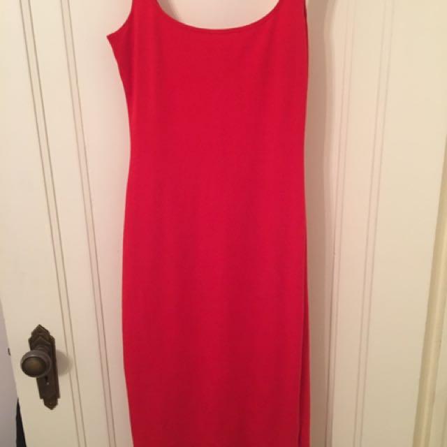 American Apparel Red Midi Dress