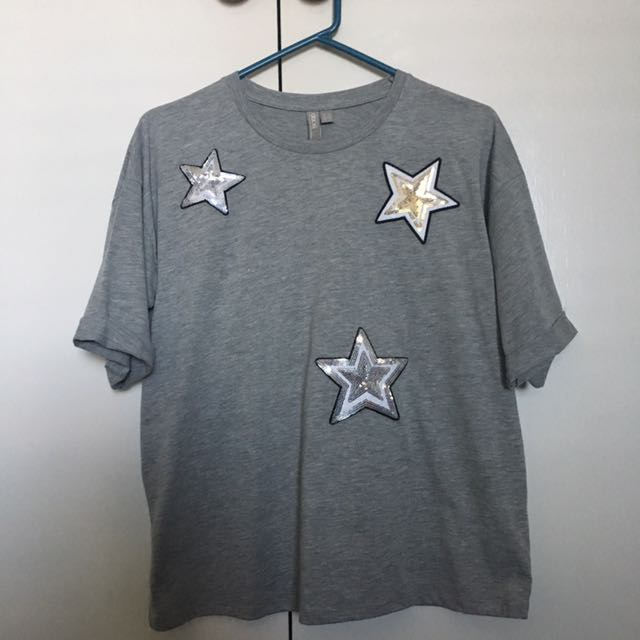 Asos Sparkly Star Grey T-shirt Size 12