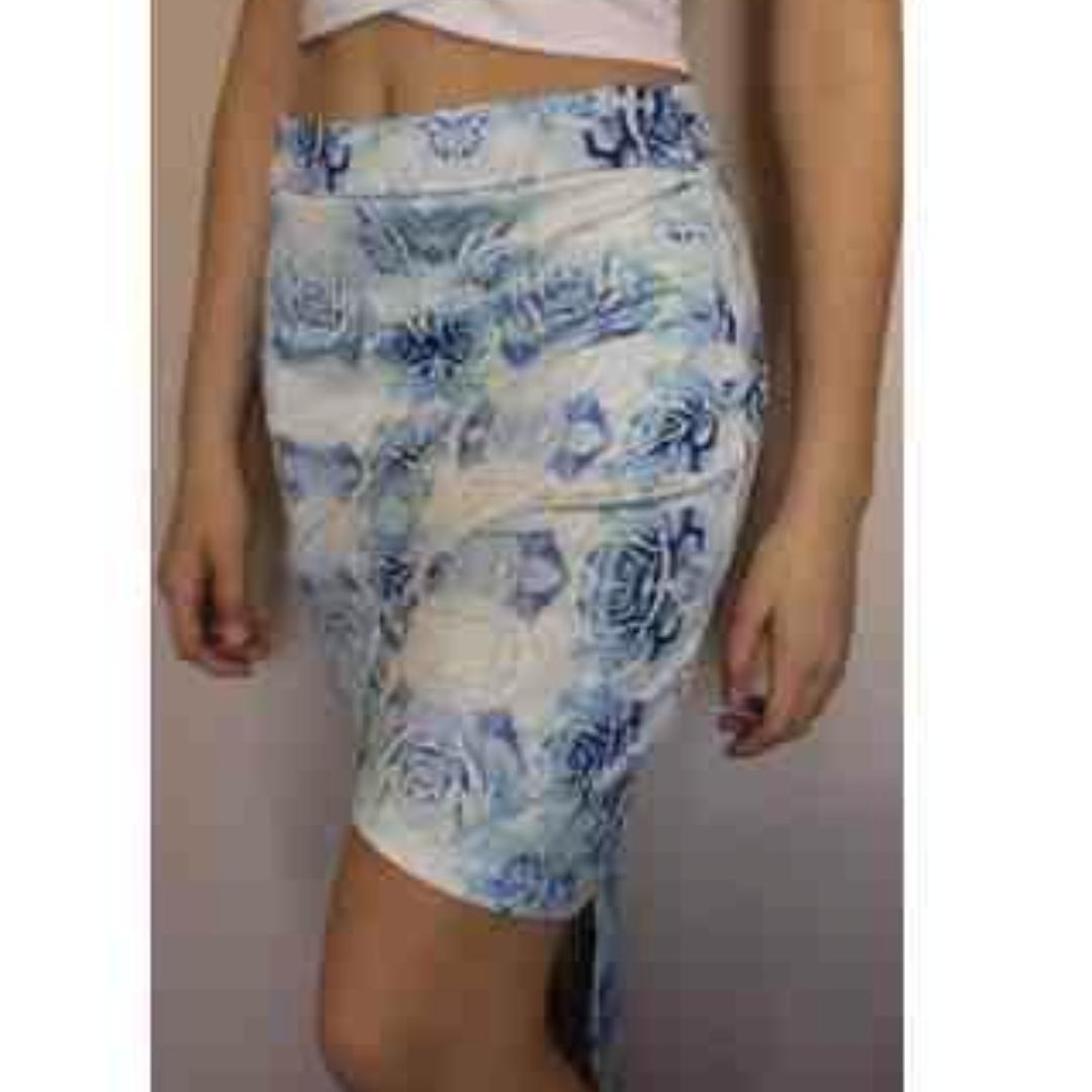 Asymmetrical Wrap Blue Floral Skirt