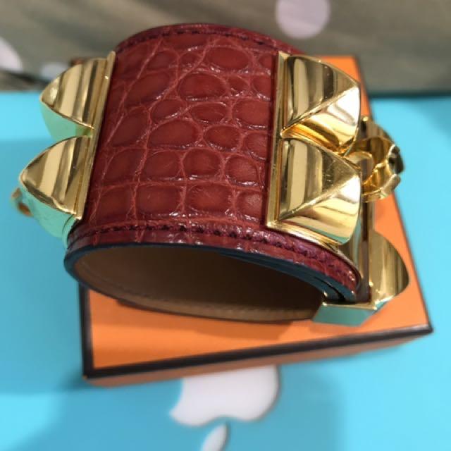 Authentic Hermes Croc Collier de Chien GHW