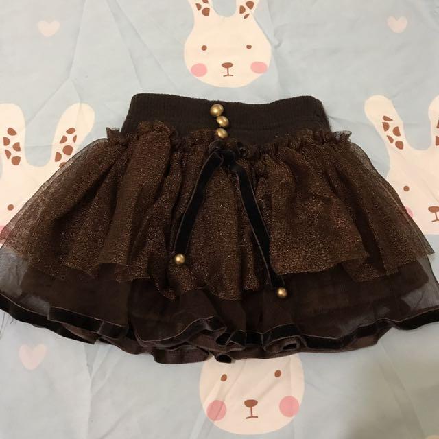 正韓baby咖啡金沙三層紗裙