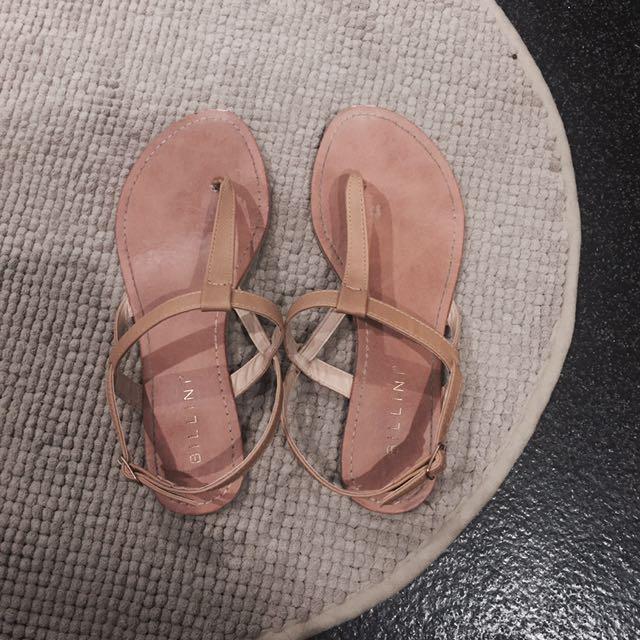 Billini Tan T Bar Sandals