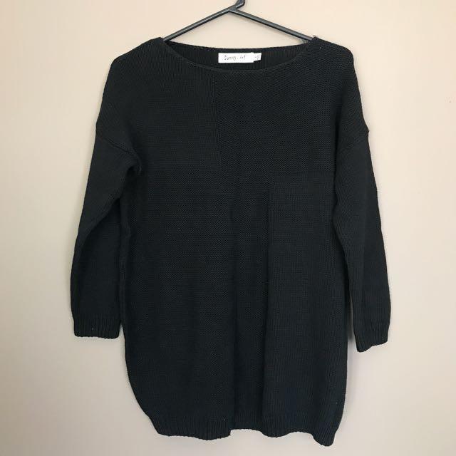 Black Cotton Knit Top