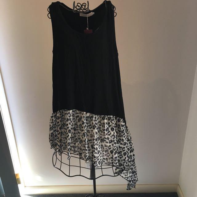 Black Dress With Leopard Prick Bottom