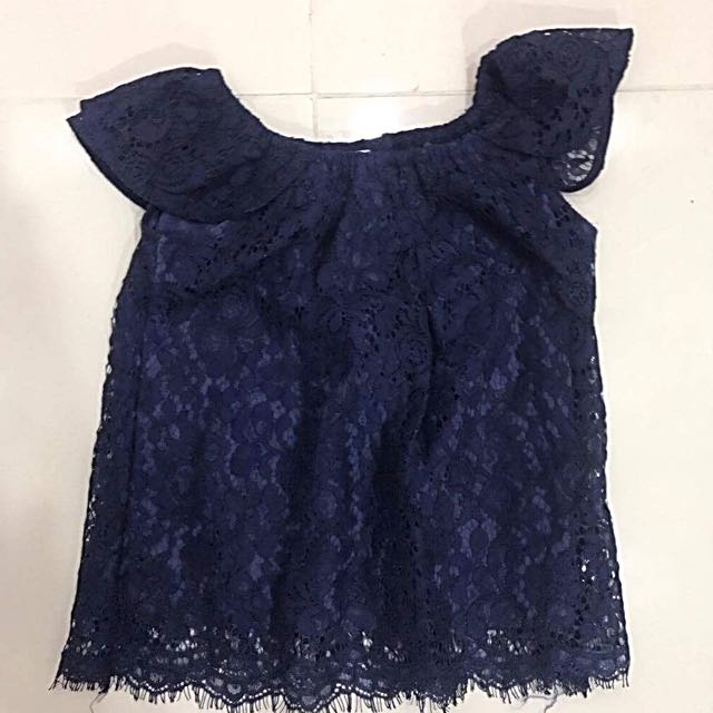 UNICA HIJA BLUE LACEY OFF SHOULDER TOP