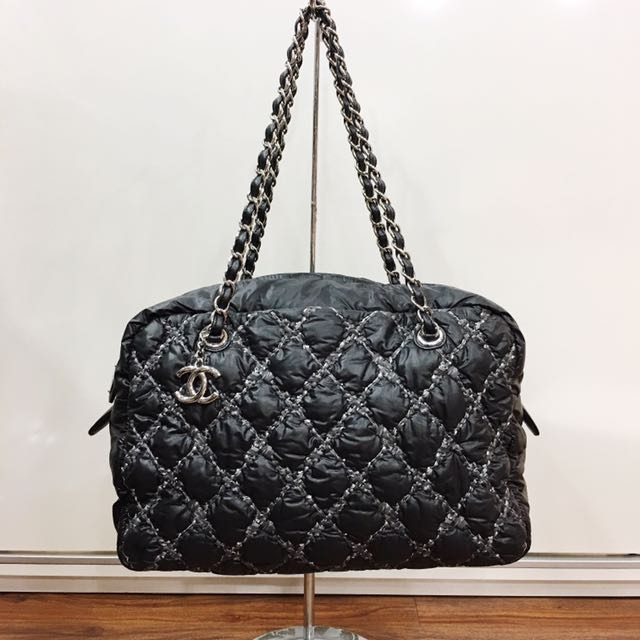 328bca9bcc35 Chanel Black Bubble Stitched Quilted Nylon Camera Bag, Luxury, Bags &  Wallets on Carousell