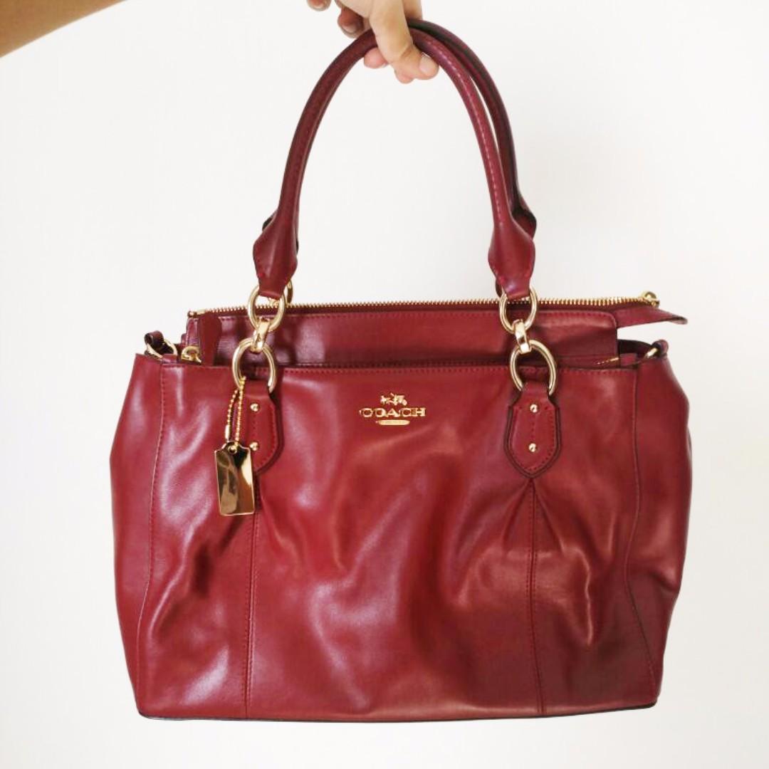 d51cdcd997 Coach Lambskin Sling Bag   Red Hand Bag   Leather Cross Body Bag ...