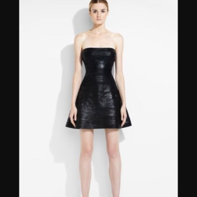752213ce5ea BCBG Herve Leger Esther Wood Foil A-line Strapless Bandage Dress. Price  Reduced To Clear!