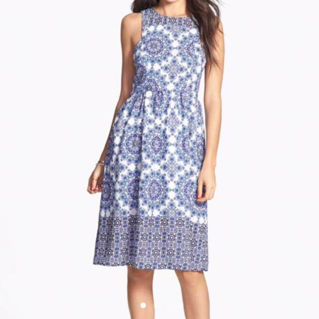 Everly Blue printed Dress