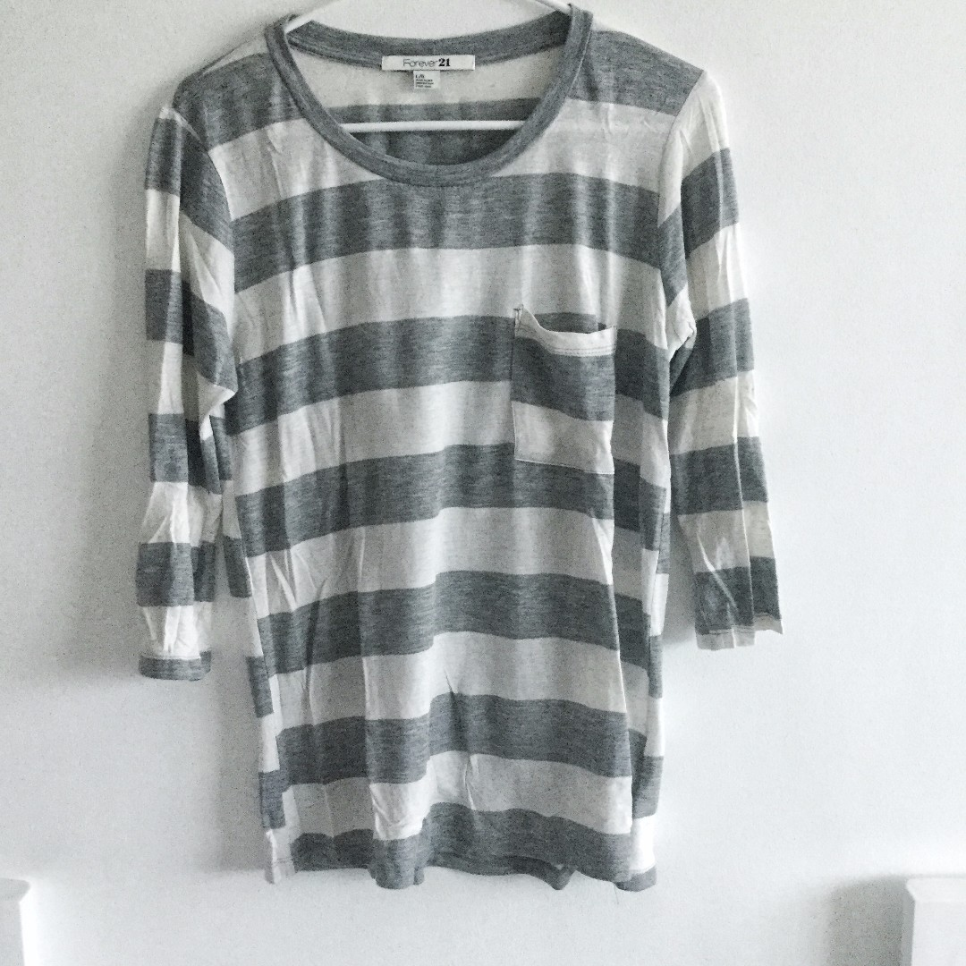 Forever 21 Gray Striped Longsleeves