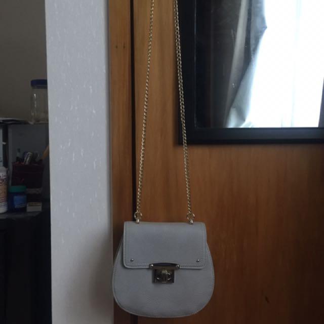 Forever New Grey Leather Handbag