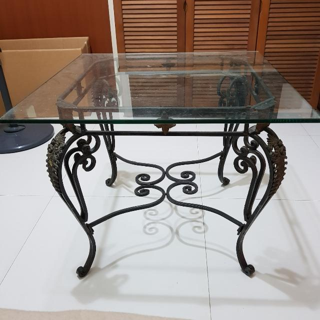 Astounding Glass Coffee Table Top With Iron Rod Furniture Tables Pdpeps Interior Chair Design Pdpepsorg