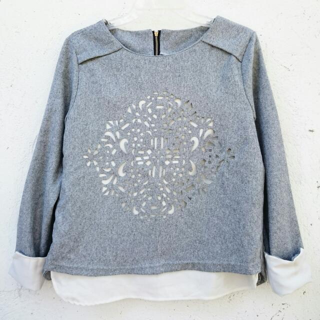 Gray Cut Out Zipped Sweatshirt