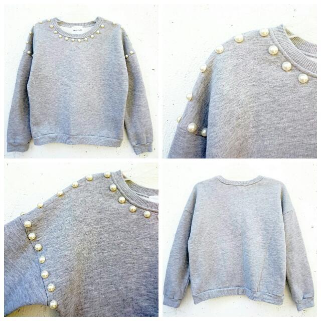 Gray Pearled Design Sweatshirt