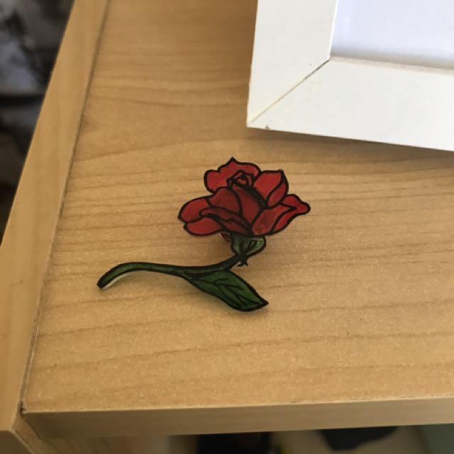 Handmade Slanted Rose Pin
